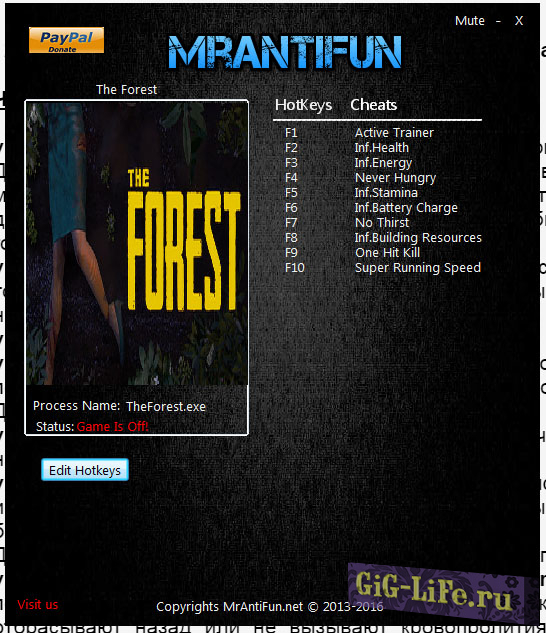 The Forest V0.71 Trainer +10 MrAntiFun / Трейнер The Forest V0.71 +10